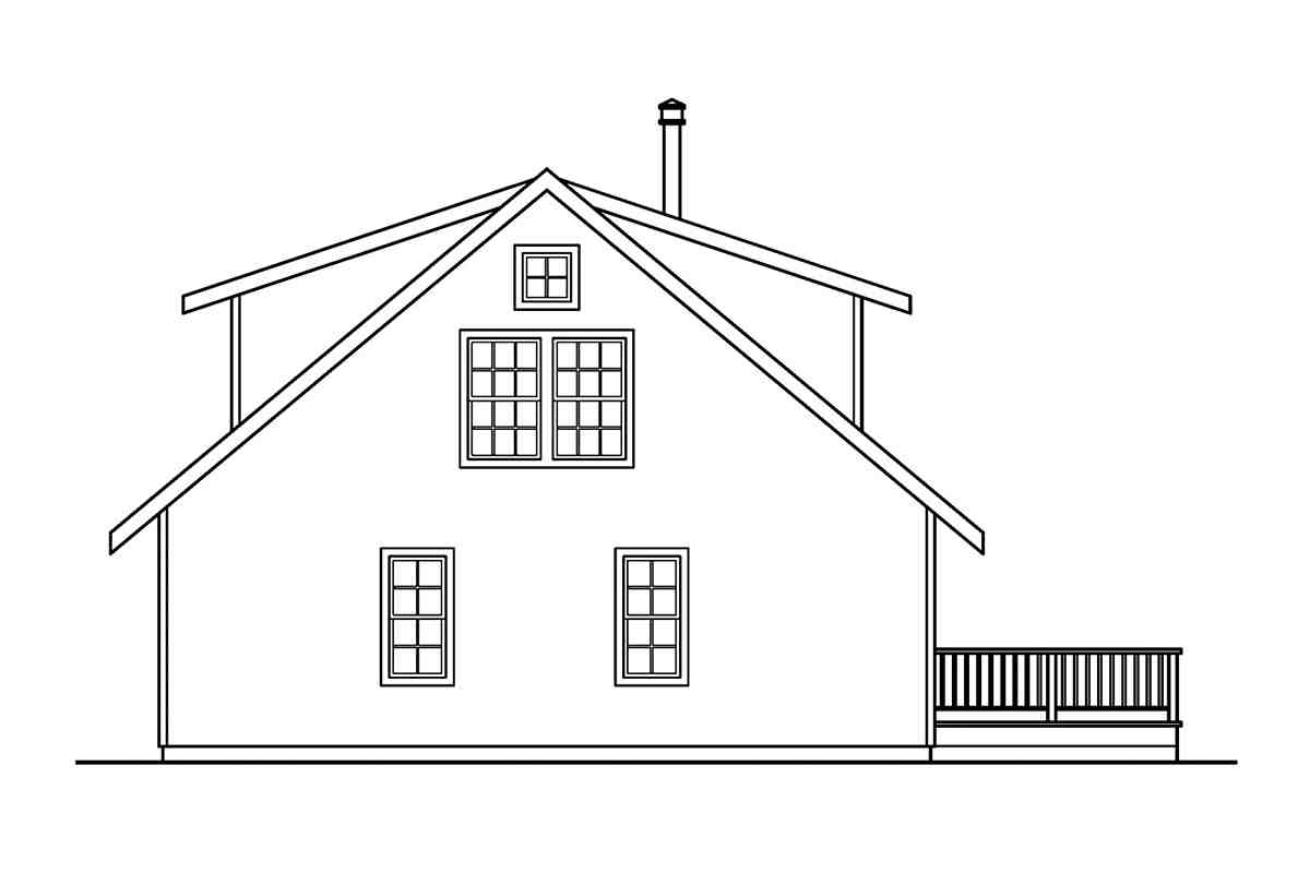 Cabin, Country House Plan 69144 with 3 Beds, 3 Baths Rear Elevation