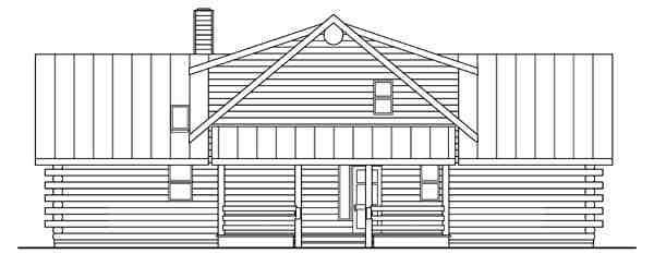 Contemporary, Log House Plan 69362 with 3 Beds, 2.5 Baths Rear Elevation