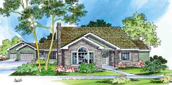 Traditional House Plan 69463 with 3 Beds, 3 Baths, 3 Car Garage Elevation