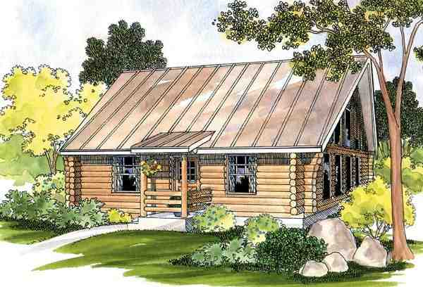 Cabin, Log, One-Story, Ranch House Plan 69498 with 1 Beds, 1 Baths Elevation