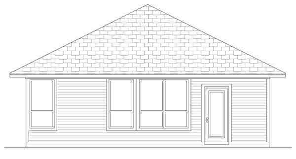 Craftsman House Plan 69910 with 3 Beds, 2 Baths Rear Elevation