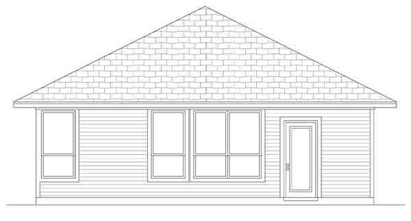 Craftsman House Plan 69911 with 4 Beds, 2 Baths Rear Elevation