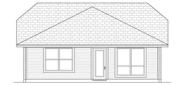 Craftsman House Plan 69914 with 3 Beds, 2 Baths Rear Elevation