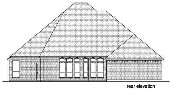 Traditional House Plan 69934 with 3 Beds, 3 Baths, 3 Car Garage Rear Elevation