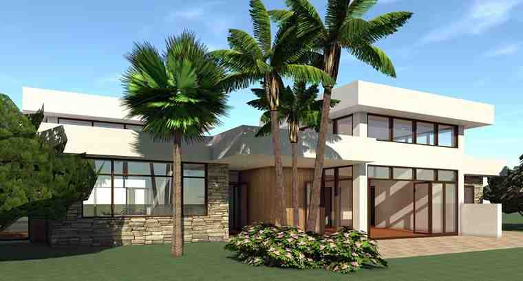Modern House Plan 70844 with 4 Beds, 2 Baths, 2 Car Garage Rear Elevation