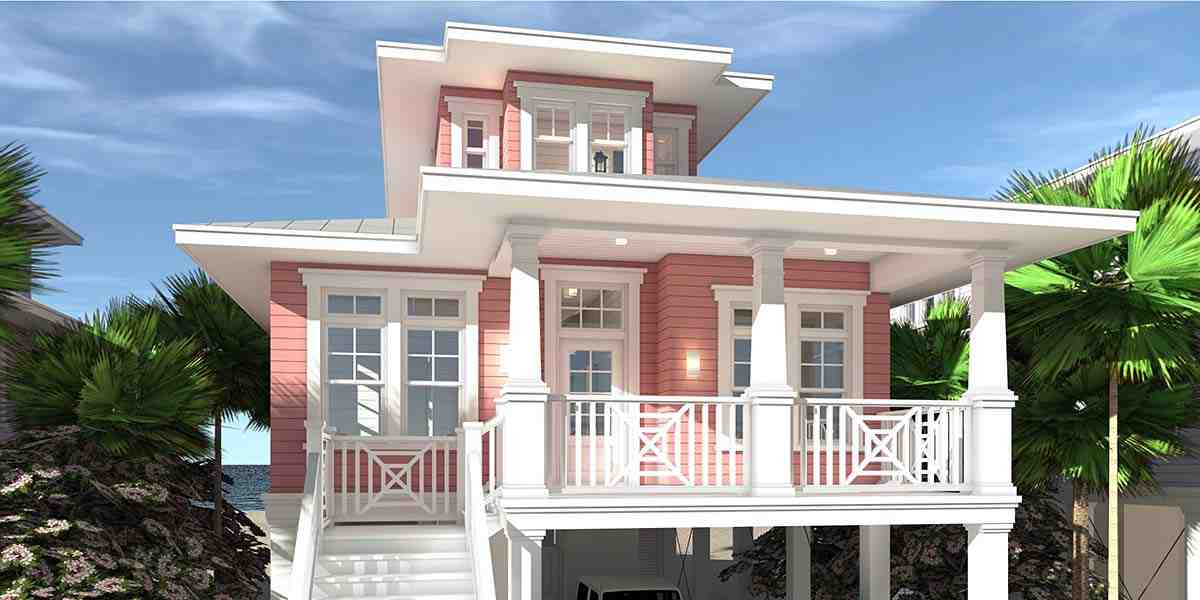 Coastal, Contemporary, Southern House Plan 70852 with 3 Beds, 2 Baths, 2 Car Garage Elevation