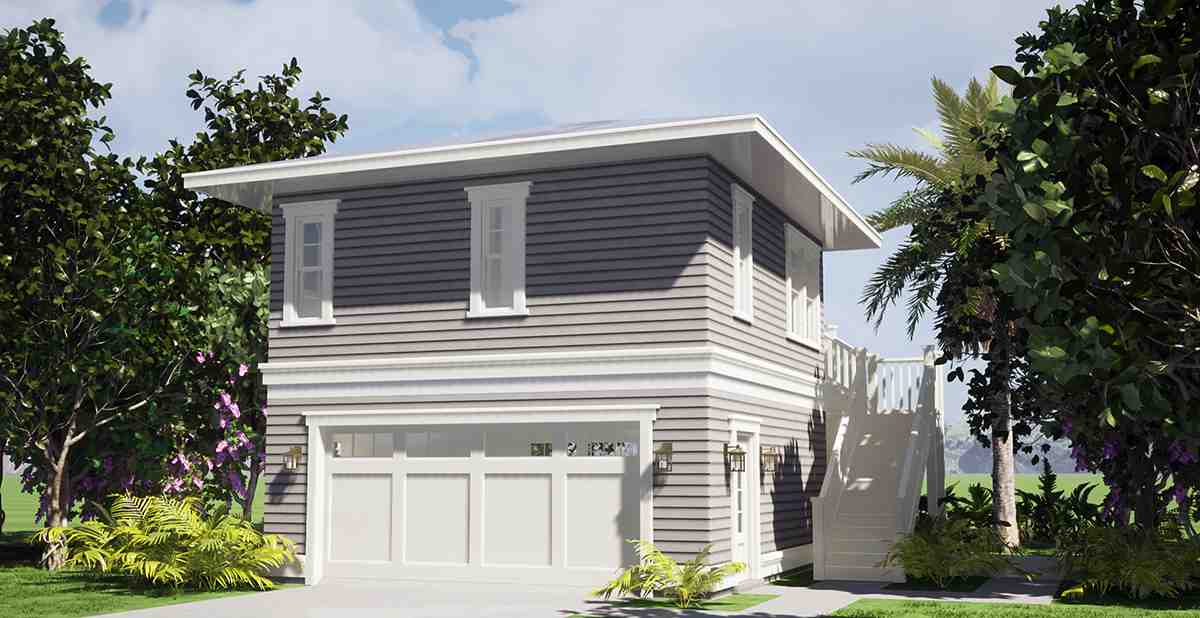 Coastal Garage-Living Plan 70858 with 1 Beds, 1 Baths, 2 Car Garage Rear Elevation