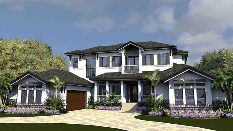 Coastal, Contemporary House Plan 71551 with 4 Beds, 6 Baths, 3 Car Garage Elevation