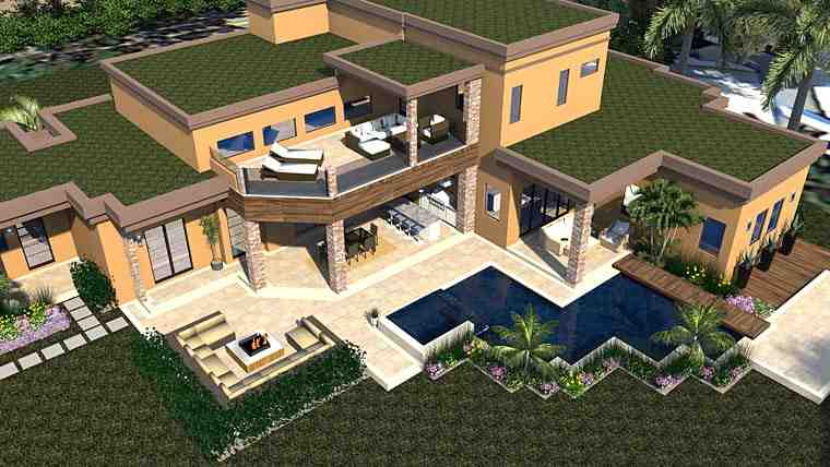 Contemporary, Modern House Plan 71554 with 6 Beds, 7 Baths, 3 Car Garage Picture 4