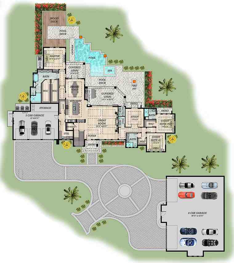 Contemporary, Modern House Plan 71554 with 6 Beds, 7 Baths, 3 Car Garage Picture 5