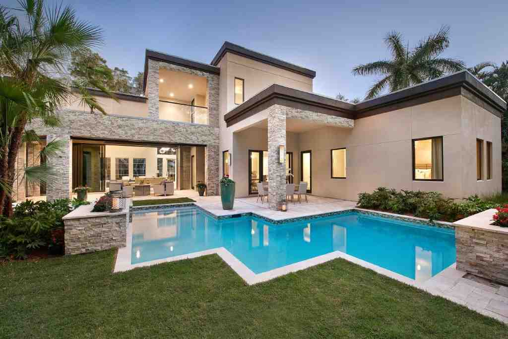 Contemporary, Modern House Plan 71554 with 6 Beds, 7 Baths, 3 Car Garage Rear Elevation
