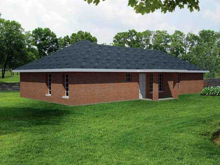 Ranch, Southwest House Plan 71933 with 3 Beds, 2 Baths, 1 Car Garage Rear Elevation