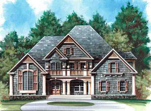 Greek Revival, Tudor House Plan 72041 with 4 Beds, 4 Baths, 3 Car Garage Picture 2