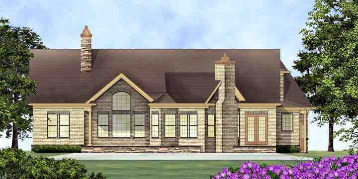 House Plan 72136 with 3 Beds, 3 Baths, 2 Car Garage Rear Elevation