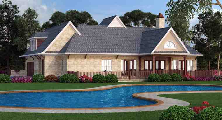 European, French Country, Traditional House Plan 72166 with 3 Beds, 2 Baths, 2 Car Garage Rear Elevation
