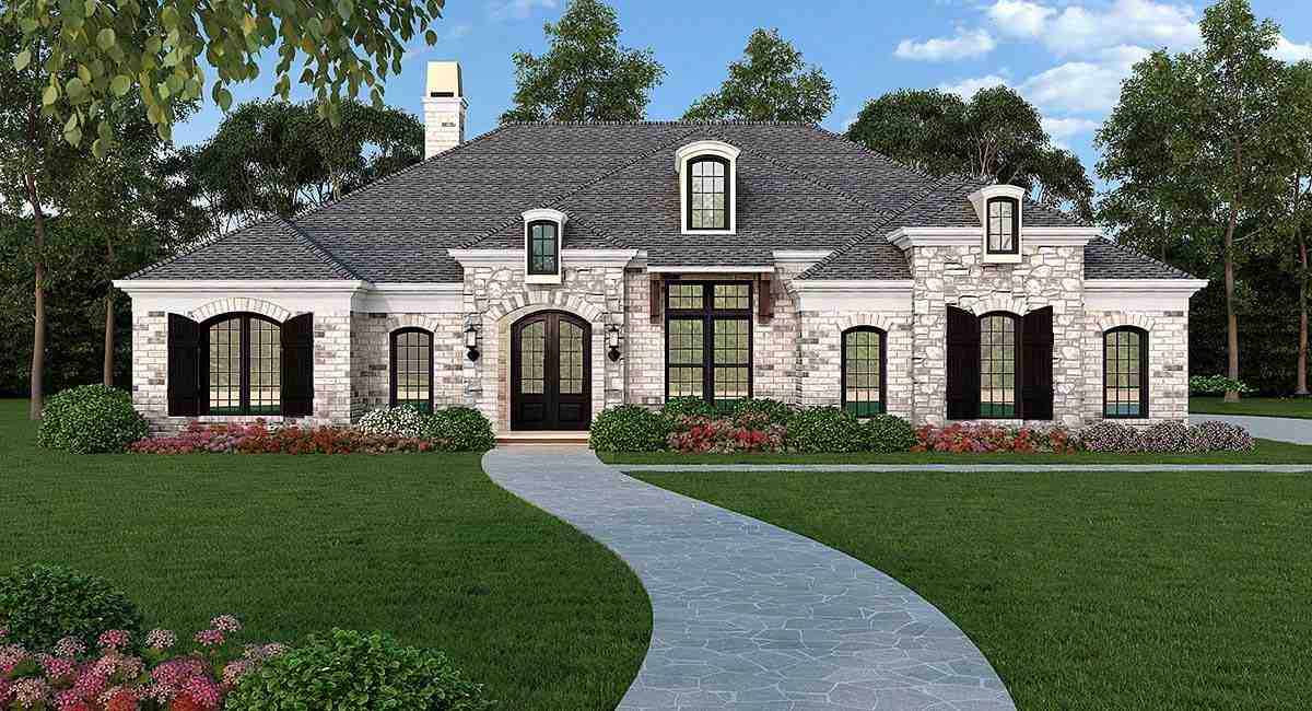 Ranch, Traditional House Plan 72251 with 3 Beds, 4 Baths, 2 Car Garage Elevation