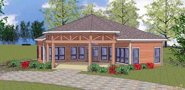 Cabin, Cottage, Southern House Plan 72331 with 2 Beds, 1 Baths Elevation
