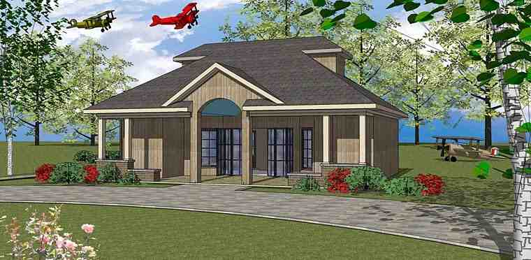 Contemporary, European House Plan 72379 with 1 Beds, 2 Baths Elevation