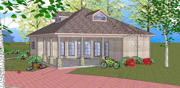 Coastal, Southern House Plan 72384 with 3 Beds, 2 Baths Elevation