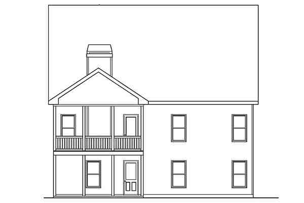 Traditional House Plan 72675 with 4 Beds, 3 Baths, 2 Car Garage Rear Elevation
