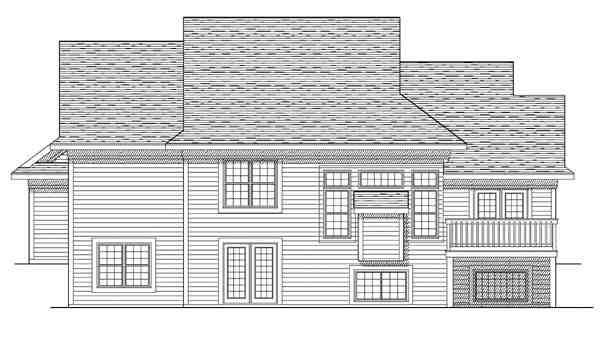 Traditional House Plan 73097 with 4 Beds, 4 Baths, 2 Car Garage Rear Elevation
