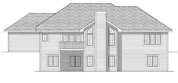 Traditional House Plan 73246 with 2 Beds, 2 Baths, 3 Car Garage Rear Elevation