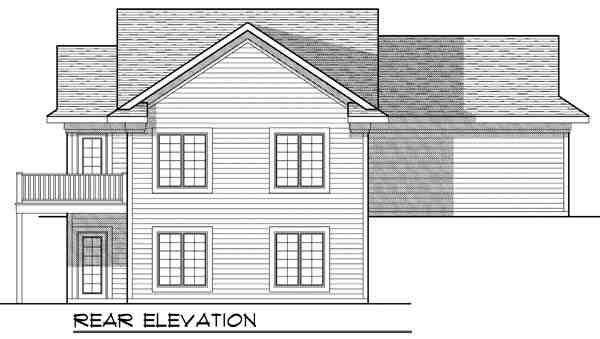 Colonial, Traditional House Plan 73326 with 4 Beds, 2 Baths, 2 Car Garage Rear Elevation