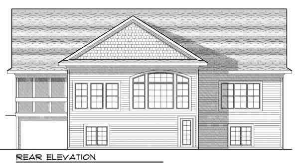 Ranch, Traditional House Plan 73422 with 4 Beds, 3 Baths, 3 Car Garage Rear Elevation