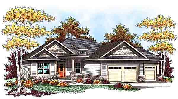 One-Story, Traditional House Plan 73425 with 5 Beds, 3 Baths, 3 Car Garage Elevation