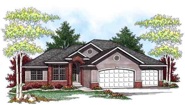 One-Story, Traditional House Plan 73440 with 3 Beds, 3 Baths, 3 Car Garage Elevation
