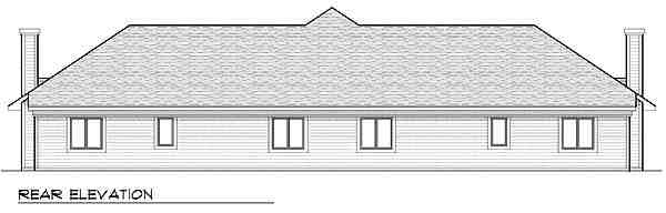 Traditional Multi-Family Plan 73477 with 4 Beds, 4 Baths, 4 Car Garage Rear Elevation