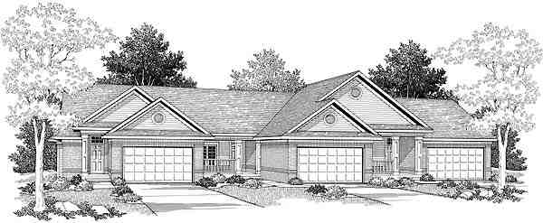 Ranch Multi-Family Plan 73483 with 5 Beds, 3 Baths, 6 Car Garage Elevation