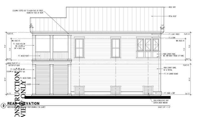Colonial, Historic, Traditional 2 Car Garage Apartment Plan 73827 with 2 Beds, 1 Baths Rear Elevation