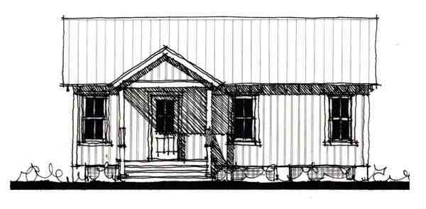Country, Historic House Plan 73894 with 1 Beds, 1 Baths Elevation