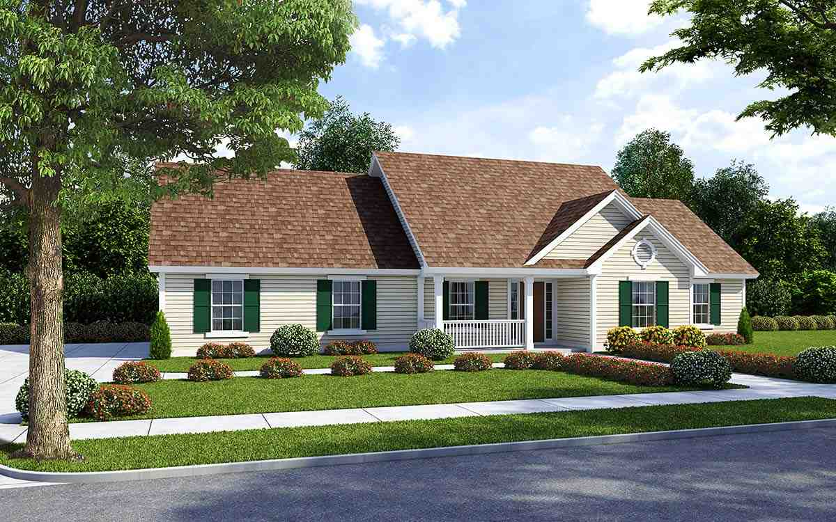 Country, Ranch, Traditional House Plan 74007 with 3 Beds, 2 Baths, 2 Car Garage Elevation