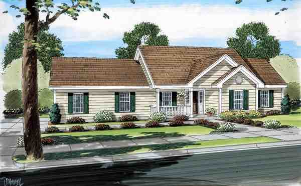 Country, Ranch, Traditional House Plan 74007 with 3 Beds, 2 Baths, 2 Car Garage Picture 1
