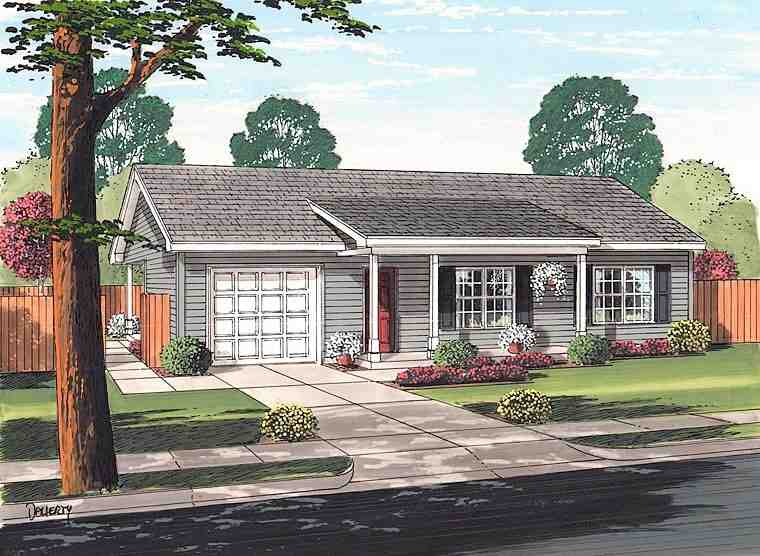 Cottage, Ranch, Traditional House Plan 74017 with 2 Beds, 1 Baths, 1 Car Garage Elevation