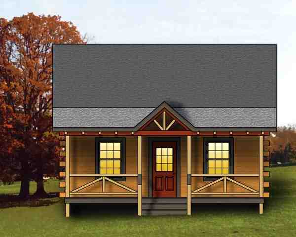Log, Narrow Lot House Plan 74109 with 1 Beds, 1 Baths Elevation