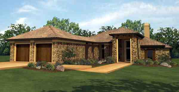 Mediterranean House Plan 74501 with 4 Beds, 4 Baths, 2 Car Garage Elevation