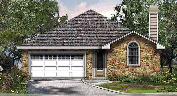 Cottage, Traditional House Plan 74503 with 3 Beds, 2 Baths, 2 Car Garage Elevation