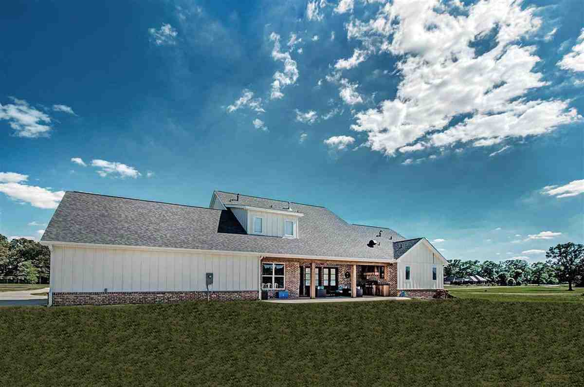 Country, Farmhouse, French Country House Plan 74635 with 5 Beds, 4 Baths, 3 Car Garage Rear Elevation