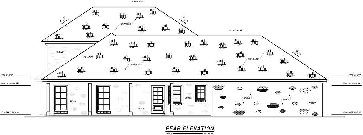 Historic, Plantation, Southern, Traditional House Plan 74653 with 4 Beds, 3 Baths, 2 Car Garage Rear Elevation