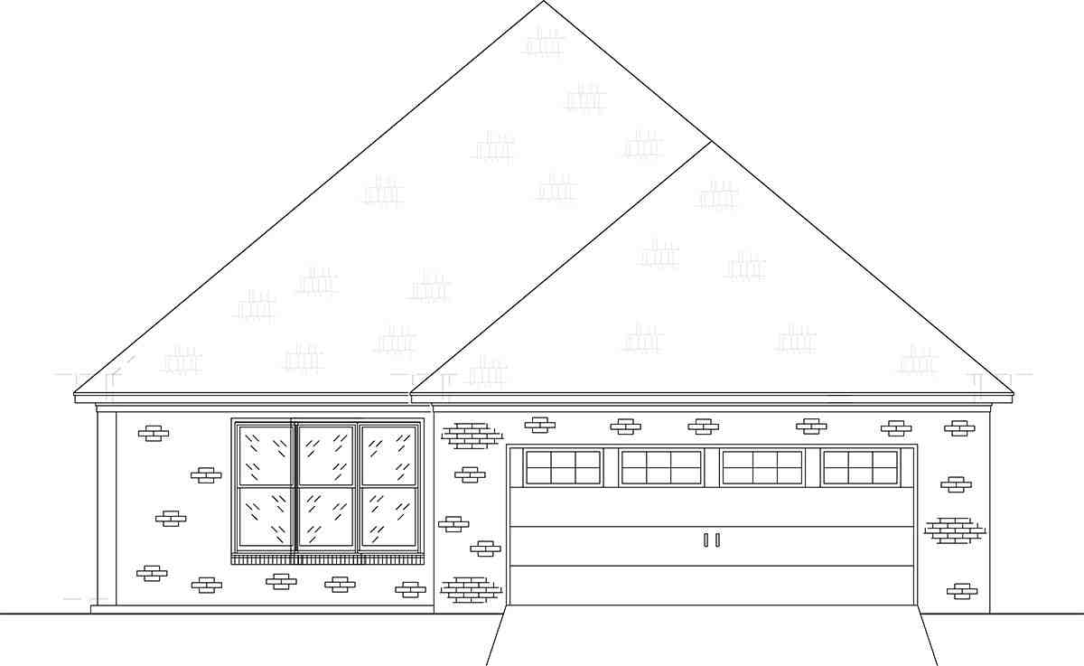 Craftsman, Traditional House Plan 74656 with 4 Beds, 3 Baths, 2 Car Garage Rear Elevation