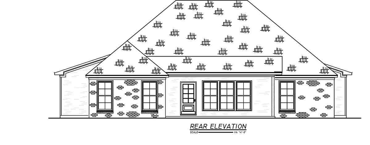 French Country, Traditional House Plan 74664 with 3 Beds, 2 Baths, 2 Car Garage Rear Elevation