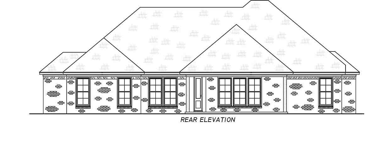 French Country, Traditional House Plan 74665 with 3 Beds, 2 Baths, 2 Car Garage Rear Elevation