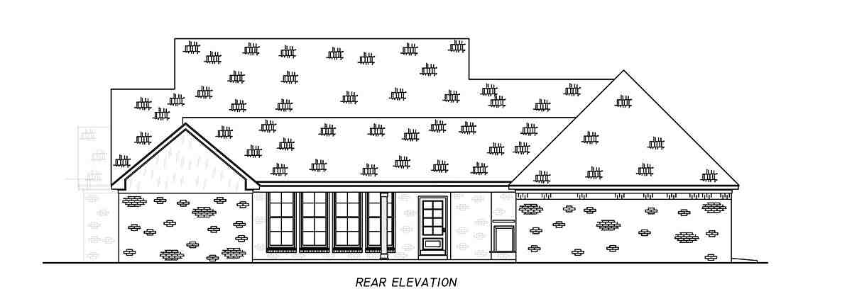 Country, Farmhouse, Traditional House Plan 74666 with 4 Beds, 3 Baths, 3 Car Garage Rear Elevation