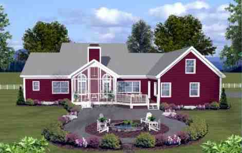 Country, Farmhouse, Ranch House Plan 74834 with 3 Beds, 4 Baths, 2 Car Garage Rear Elevation