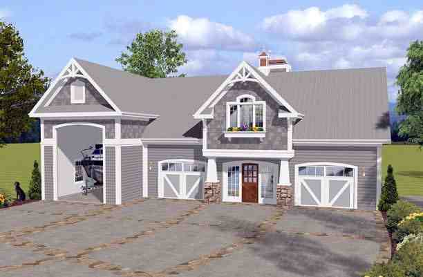 Craftsman 3 Car Garage Apartment Plan 74841 with 1 Beds, 2 Baths, RV Storage Elevation