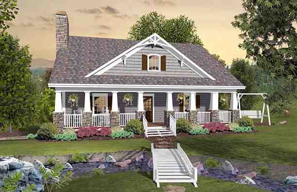 Cottage, Country, Craftsman House Plan 74849 with 3 Beds, 3 Baths, 2 Car Garage Elevation