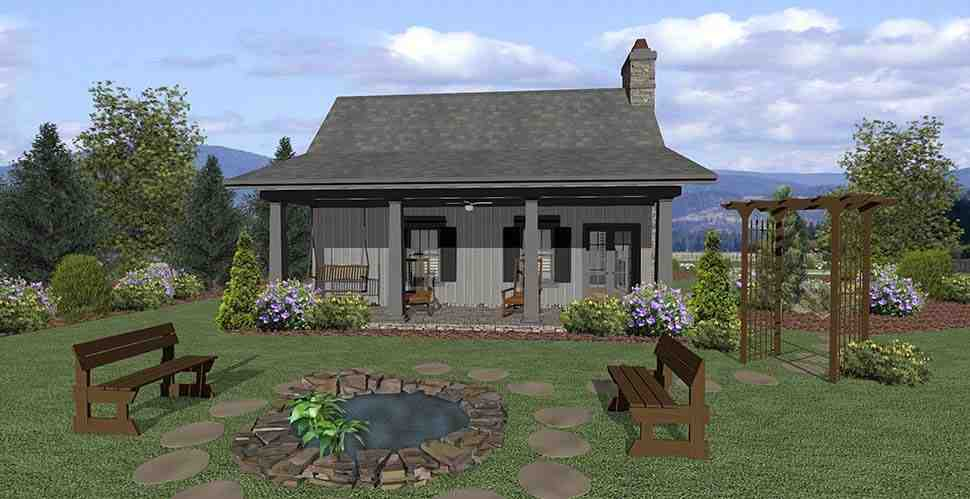 Cottage, Craftsman, Tuscan House Plan 74863 with 1 Beds, 1 Baths Rear Elevation